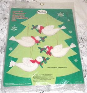Malina Christmas Jeweled Hanging Ornaments Kit #8200/003 Set of 4 Peace Doves