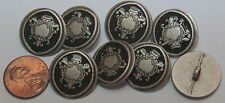 """8 Silver Tone Metal Almost Black Enamel Buttons 13/16"""" 20mm # 5065"""