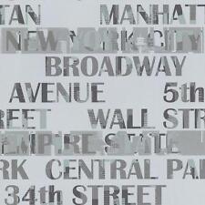 NEW GALERIE NEW YORK TYPOGRAPHY MANHATTAN SILVER CITY PATTERN WALLPAPER 12118409