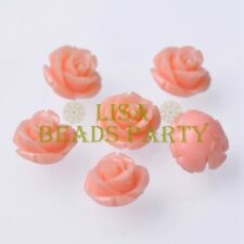 New 10pcs 12mm Rose Flower Synthetic Coral Charms Loose Spacer Beads Lt Pink