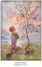 Medici Postcard Pk 58 Morning Carol Magaret Tarrant Child Nature Rabbits Birds