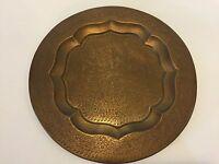 "Vintage India Detail Hand Engraved Brass Plate, 12 3/4"" Diameter"