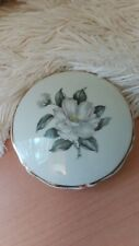 Vintage Limoges Paris magnolia flower powder/trinket box round