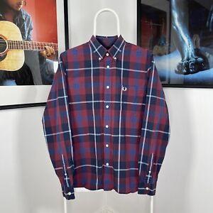 Mens FRED PERRY Tartan Check Button Down LongSleeve Shirt Wine -Red/Blue -Medium