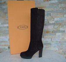Tods Tod´s Gr 38,5 Stiefel Plateau Boots Schuhe suede dunkelbraun neu UVP 620 €