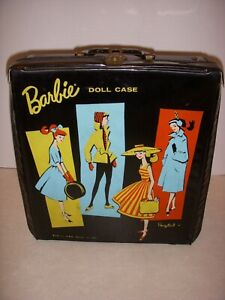 "Vintage 1961 BARBIE PONYTAIL CASE, BLACK  10 1/2"" X 12 1/2"", VERY GOOD CONDITION"