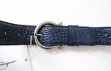 SALVATORE FERRAGAMO Wide Adjustable Blue Crocodile Gancini Belt Size 38 US 95 CM