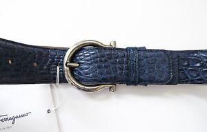 SALVATORE FERRAGAMO Wide Adjustable Blue Crocodile Gancini Belt 46 US 115 CM
