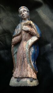 RARE 17th 18th C ANTIQUE POLYCHROMED CARVED WOOD SAINT MOURNING VIRGIN FIGURE