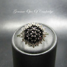 9K Gold 9ct gold Black and White Diamond Cluster Ring Size O 1/2 4.1g 1ct