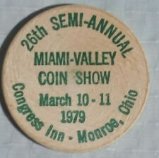 Vintage Miami-Valley Ohio Coin Show Wooden Nickel March 1979 Rare Green Ink Nice