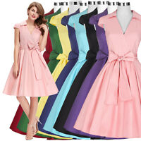 Women's V-Neck Vintage Style 1950's Retro Evening Party Swing Dress