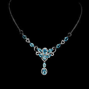 Oval Swiss Blue Topaz 8x6mm Cz White Gold Plate 925 Sterling Silver Necklace 17.