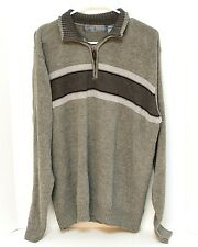 Oscar De La Renta Men's Sweater Sz L Pull Over Long Sleeve 1/2 Zipper Front Gray