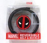 Marvel Deadpool Men's Logo Graphic Reversible Belt & Buckle Cut To Fit