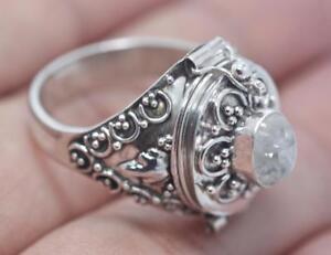 Handmade Sterling Silver .925 Lg Bali Vintage Poison/Pill Box Ring. Cz Gem/Size