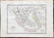 Grèce Ancienne - Superbe Carte Aquarellée sur Papier Vergé 41x28 par Huot 1837