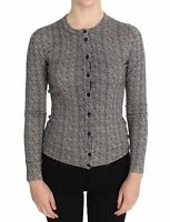 NWT $1160 DOLCE & GABBANA Sweater Cardigan Black White Wool Top IT38/ US4 / S