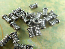 50 Silver Plated Decorative Tube Beads Findings 36100