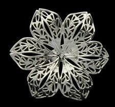 BULK Ring Blanks Flower Rings Silver Plated Brass Cocktail Rings Adjustable 10pc