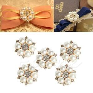 5Pcs Pearl Rhinestone Buttons Wedding Dress DIY Flatback Buttons Embellishment r