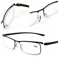 Mens Rectangular Titanium Alloy Reading Glasses Readers 1.0 1.5 2.0 .2.5 3.0 3.5