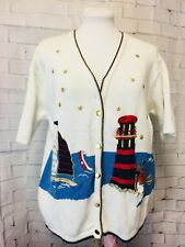 Terrazzo Lighthouse And Sailboat Short Sleeved Cardigan. Med. Very Good.