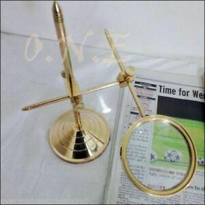 Vintage Brass Desktop Magnifying Golden Finish Glass Magnifier Adjustable Stand