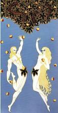 "Original Vintage Erte Art Deco Print ""Adam and Eve"" Fashion Book Plate"
