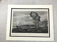 1920 Antico Stampa Landscape Vecchio Master Disegno Jean Baptiste Camille Corot