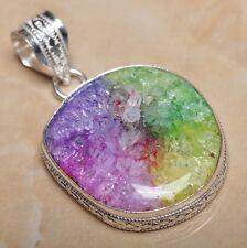 "Handmade Rainbow Solar Quartz Crystal 925 Sterling Silver Pendant 2"" #P09413"