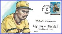 U #3408j U/A COLLINS HAND PAINTED FDC   Legends of Baseball Roberto Clemente