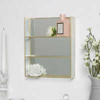 Gold Glass Mirror Shelving Shelf Display Storage Unit Wall Mounted Home Decor