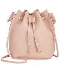 Macy's Pink Bucket Shoulder Crossbody Hand Bag - Faux Pebbled Leather