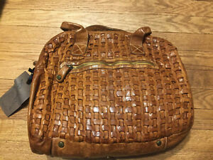 Details about  /Langellotti Italy Brown Leather /& Metallic Handbag EXCELLENT CONDITION!