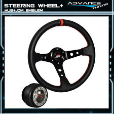 Black PVC Leather Red Stitch Deep Dish 350MM Steering Wheel + Hub Adapter JDM