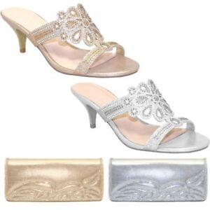 FLR400 Glimmer Diamante Mule Slip On Evening Kitten Heels Clutch Purse Bag