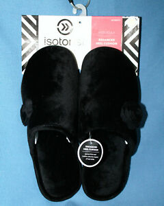 NWT ISOTONER Holiday Collection Flower Slipper Wos XL 9.5-10 Black Enhanced Heel