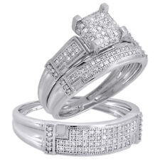 TRIO SET HIS HER ENGAGEMENT WEDDING RING CREATED DIAMOND 10K WHITE GOLD FINISH
