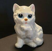 Cutest Vintage Lefton White Kitty Cat Kitten Planter Big Blue eyes Licking Paw