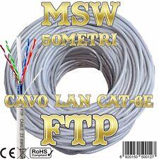 50 Metri Matassa Professionale Cavo di Rete Lan Schermato Cat 6E FTP CCTV Fibra