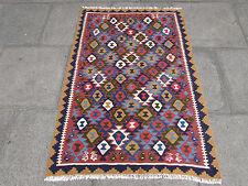 Kilim Old Traditional Hand Made Persian Oriental Wool Brown Blue Kilim 147x100cm