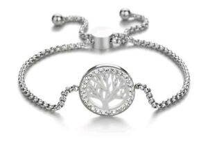 STAINLESS STEEL CHARM BRACELET SILVER Crystal TREE OF LIFE Comes gift boxed 790