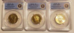 2010 P D S Franklin Pierce BU & Proof Dollar Set ANACS 67, 67, 70 First Strikes