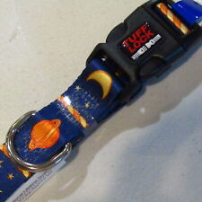"Large Adjustable Dog Collar 16"" 25"" Tuff Lock 1"" Wide Space Blue Planet  NOS"