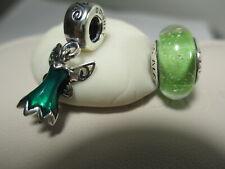 2 Authentic Pandora Disney Tinker Bell's Dress Charm Green Signature Color Charm