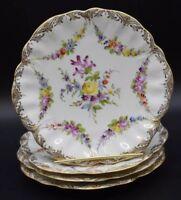 """(4) Fransizka Hirsch Dresden German HP Flowers & Gold 7 1/4"""" Dessert Plates"""