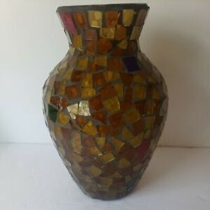 Pier 1 Gold Multicolor Mosaic Crackled Vase Home Decor