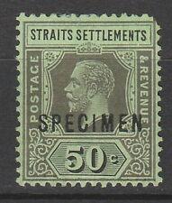 STRAITS SETTLEMENTS 1912 KGV SPECIMEN 50C EMERALD BACK WMK MULTI CROWN CA DIE II
