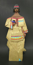 Anonymous Wood Carving Native American Woman With Stones Gold Paint Mid-20th C
